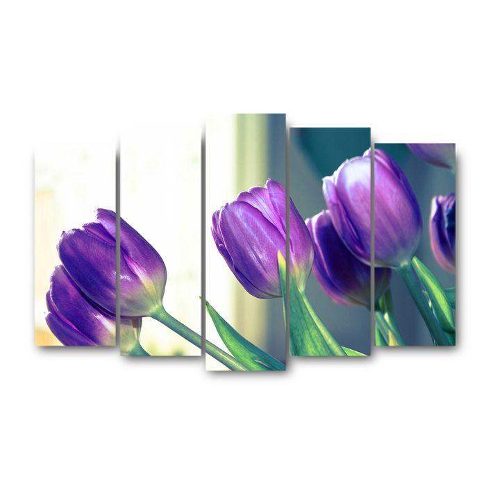 """Модульная картина на подрамнике """"Тюльпаны"""", 125×80 см"""