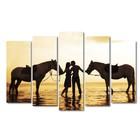 """Модульная картина на подрамнике """"Влюблённая пара с лошадьми"""", 125×80 см"""