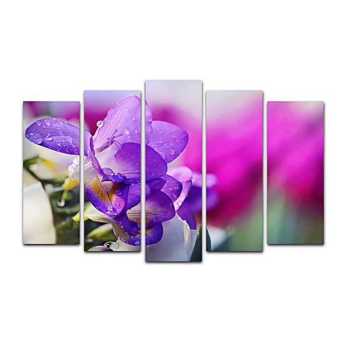 """Модульная картина на подрамнике """"Фиолетовый цветок"""", 125×80 см"""
