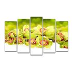 """Модульная картина на подрамнике """"Зелёная орхидея"""", 125×80 см"""