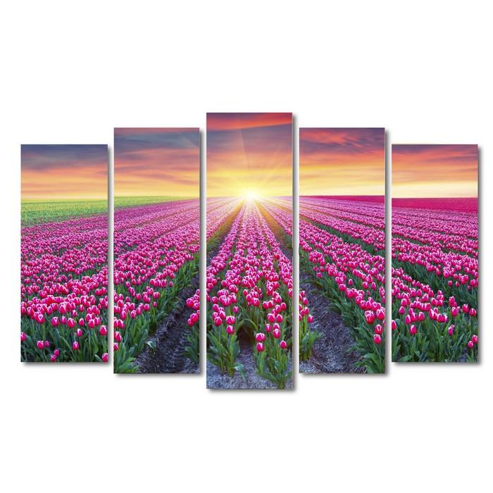 """Картина модульная на подрамнике """"Цветочные поля"""" 125*80 см - фото 1661036"""