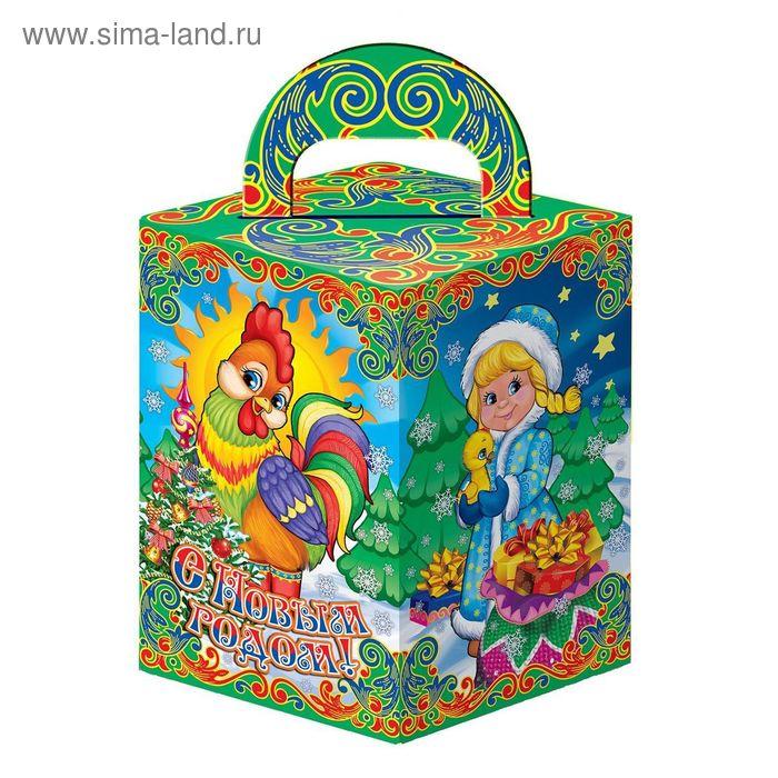 "Подарочная коробка ""Петушок и Дед Мороз со Снегурочкой"", сборная, 9х9х14 см"