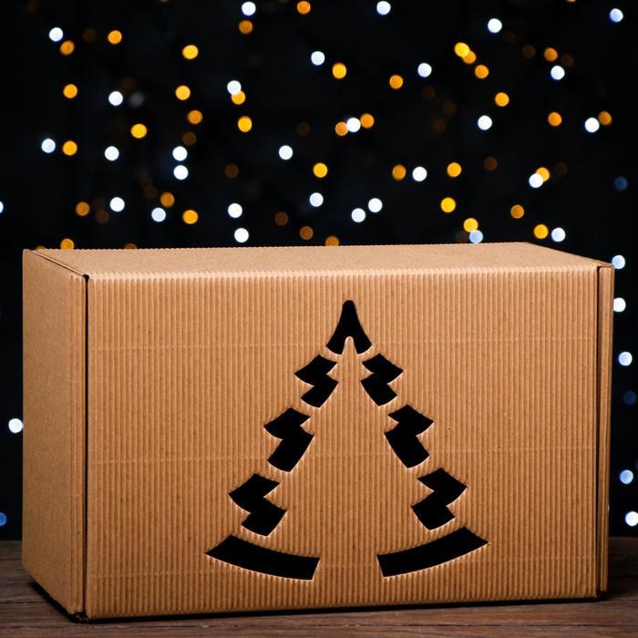 Подарочная коробка, бурая, сборная, 33,2 х 21,3 х 17,3 см