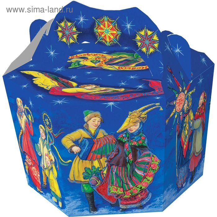 """Подарочная коробка """"Рождественские забавы-Колядки"""", корзина, сборная, 19x16x33,5 см"""