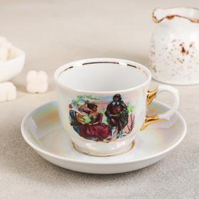 Чайная пара Добрушский фарфоровый завод «Тюльпан. Мадонна», 250 мл, блюдце 15 см