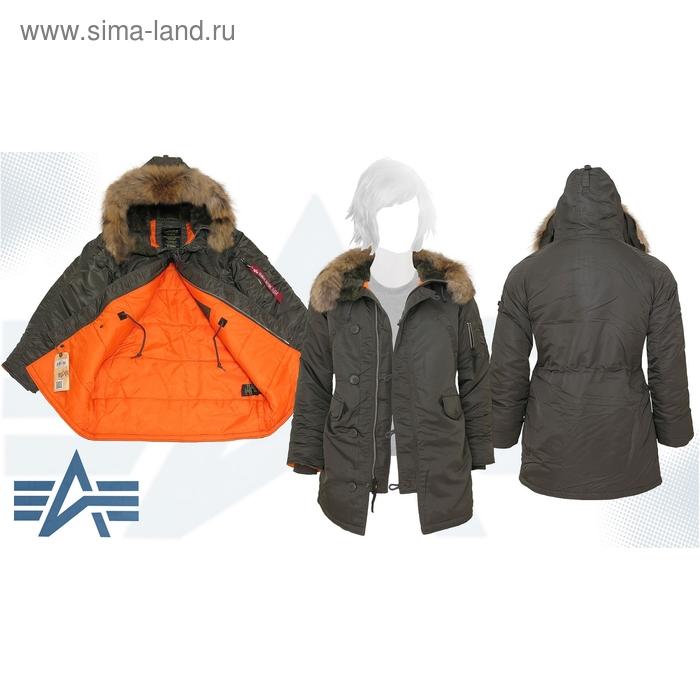 Куртка утеплённая женская N-3B W Parka Alpha Industries Replica Grey, натуральный мех, L