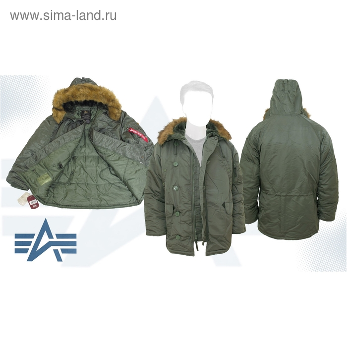 Куртка утеплённая N-3B Parka Alpha Industries Sage Green, XL