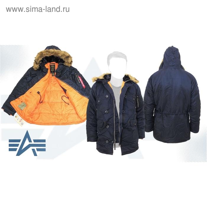 Куртка утеплённая Slim Fit N-3B Parka Alpha Industries Replica Blue/Orange, 4XL