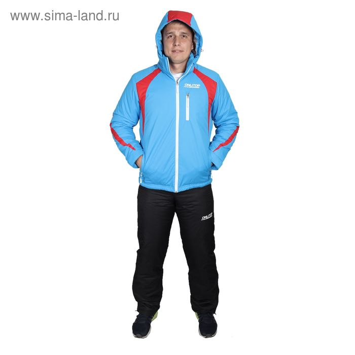 Костюм мужской ( куртка+штаны) ONLITOP, куртка-голубой/красный; штаны-чёрные (р. 56)