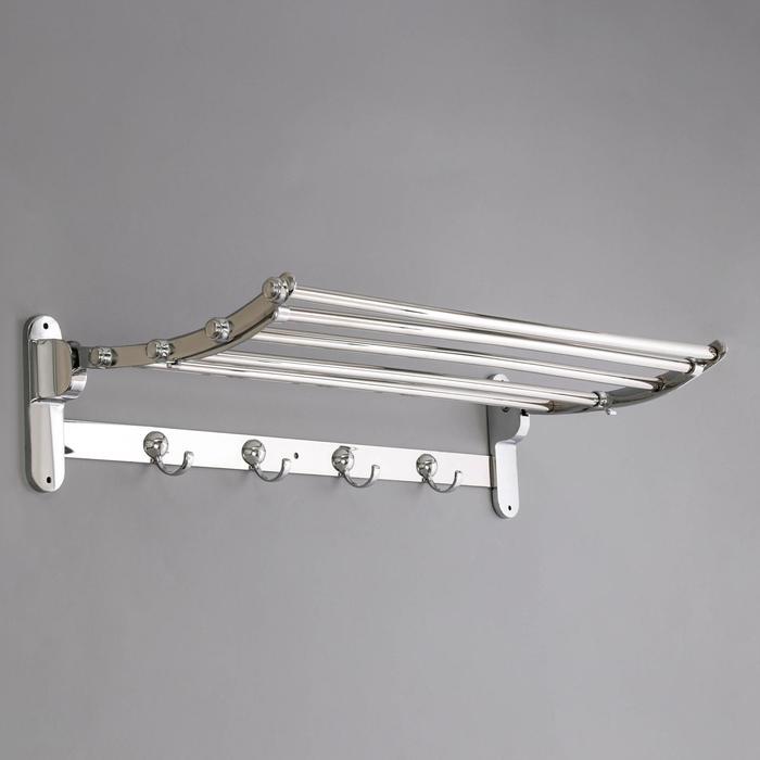 Полка откидная с держателем полотенец, 4 крючка, 58,5×25×13,5 см, цвет хром