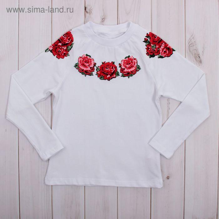"""Джемпер для девочки """"Ночной букет"""", рост 98 см (52), цвет белый, принт розы ДДД265804_Д_1"""