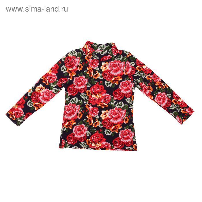 """Джемпер для девочки """"Ночной букет"""", рост 98 см (52), цвет тёмно-синий, принт розы ДДД307804н_Д_3   1"""