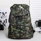 """Рюкзак молодёжный на стяжке шнурком """"Камуфляж"""", 1 отдел, 1 наружный карман, тёмно-зелёный"""