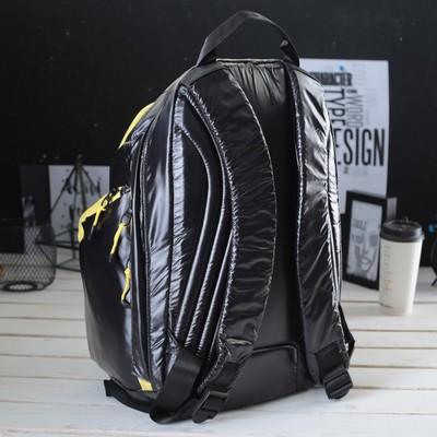 Рюкзак молодёжный на молнии, 1 отдел, 3 наружных кармана, чёрный/жёлтый