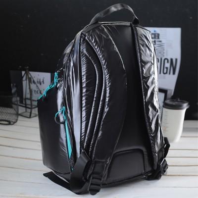 Рюкзак молодёжный на молнии, 1 отдел, 3 наружных кармана, чёрный/бирюзовый