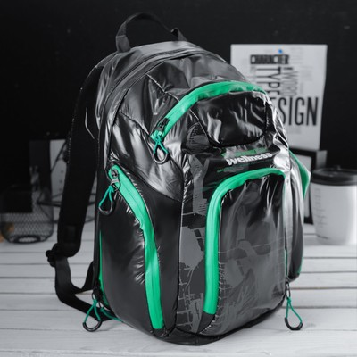 Рюкзак молодёжный на молнии, 1 отдел, 3 наружных кармана, чёрный/зелёный