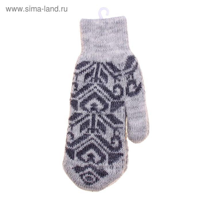 """Варежки женские """"Русский стиль"""", размер 18, цвет серый 2с229"""