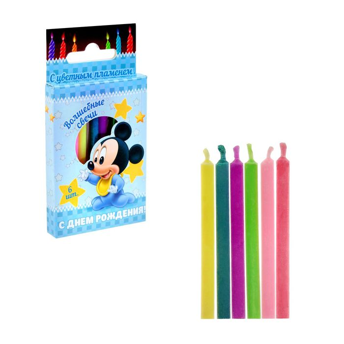 """Свеча в торт с цветным пламенем Дисней """"С Днем Рождения"""", 6 шт, Микки Маус"""