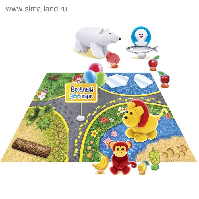 """Набор для лепки """"Зоопарк"""" с игровым фоном+7 цветов пластилина по 10 гр, стека"""