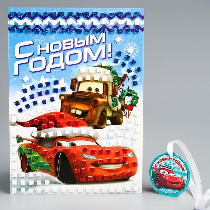 """Аппликация """"С Новым годом"""" Тачки , EVA стикеры + стразы"""