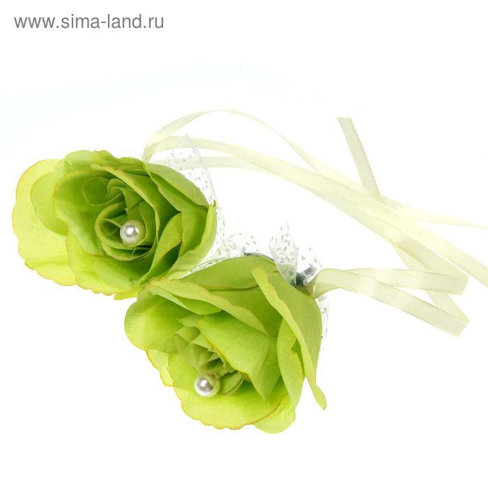 Набор роз для декора, цвет светло-салатовый