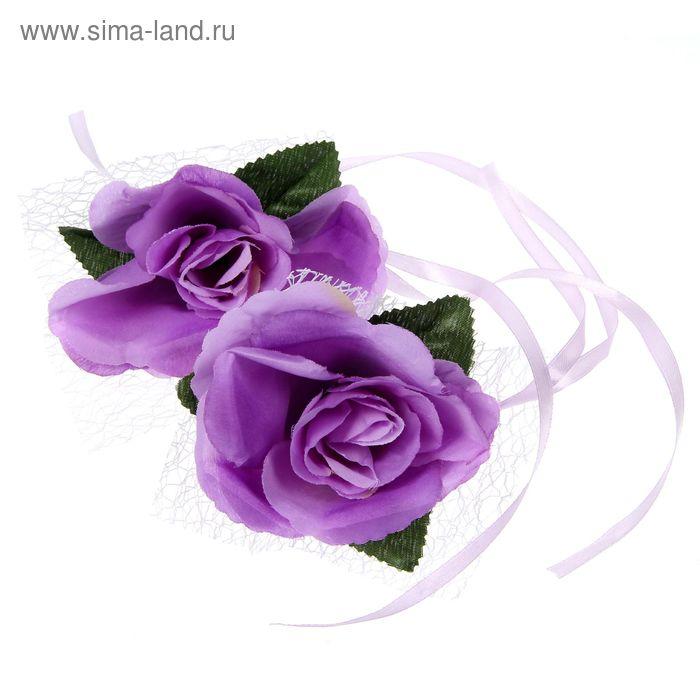 Набор роз для декора, цвет сиреневый