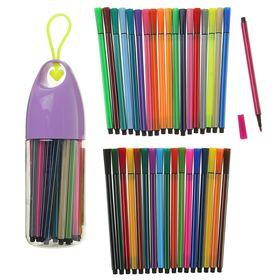 Фломастеры, 36 цветов, в пластиковом тубусе с ручкой, вентилируемый колпачок, МИКС