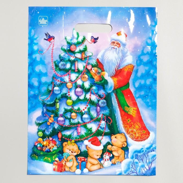 """Пакет """"Дед и мишки"""", полиэтиленовый с вырубной ручкой, 40 х 31 см, 60 мкм - фото 308291699"""