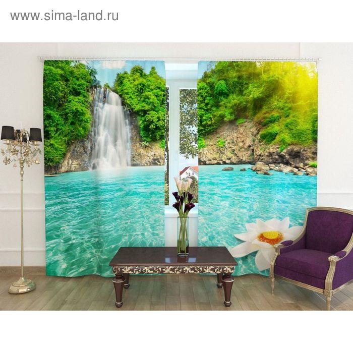 """Фотошторы """"Райский уголок"""", ширина 150 см, высота 240 см-2шт., шторная лента, блэкаут"""