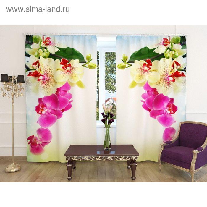 """Фотошторы """"Веточка орхидеи"""", ширина 150 см, высота 260 см-2шт., шторная лента, габардин"""