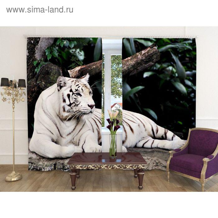 """Фотошторы """"Белый тигр"""", ширина 150 см, высота 240 см-2шт., шторная лента, габардин"""