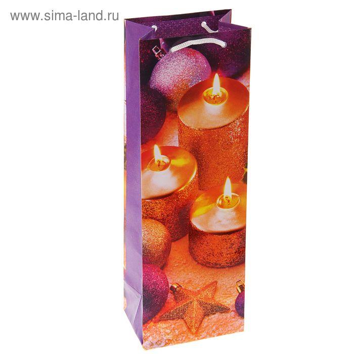 "Пакет подарочный под бутылку ""Свечи праздника"", 36 х 12 х 8.5 см"