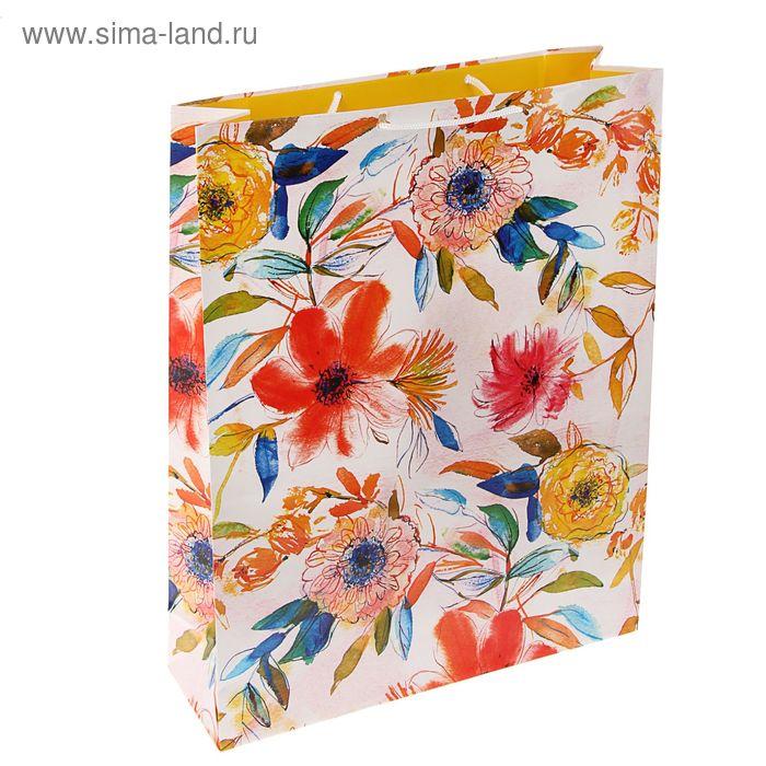 """Пакет подарочный """"Рисованные цветочки"""", 42.5 х 33 х 10 см"""
