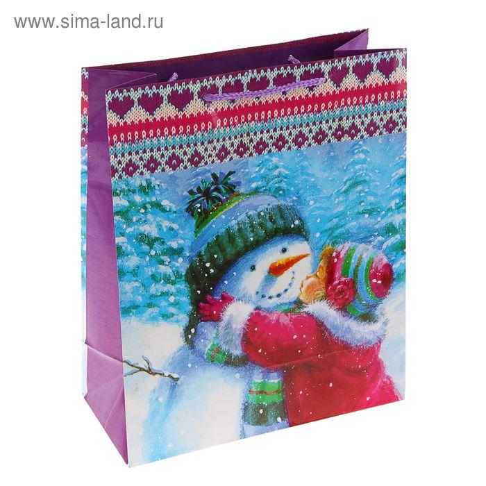 """Пакет подарочный """"Снеговик - световик"""", 14.5 х 11.5 х 6.5 см"""