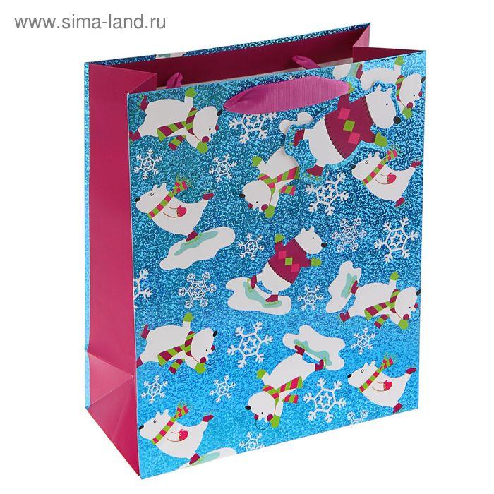 """Пакет подарочный """"Веселые медведи"""" люкс, 32 х 26 х 12 см"""