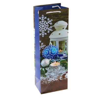 "Пакет подарочный под бутылку ""Зимний свет"", 36 х 12 х 8.5 см"