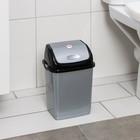 """Контейнер для мусора 4 л """"Камелия"""", цвет серебристый перламутр/чёрный"""
