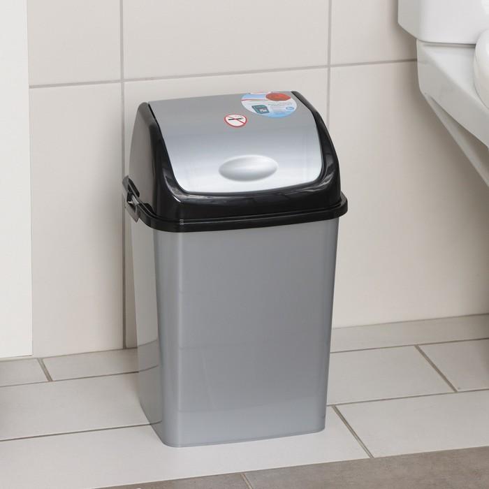 """Контейнер для мусора 8 л, """"Камелия"""", цвет серебристый перламутр/черный"""