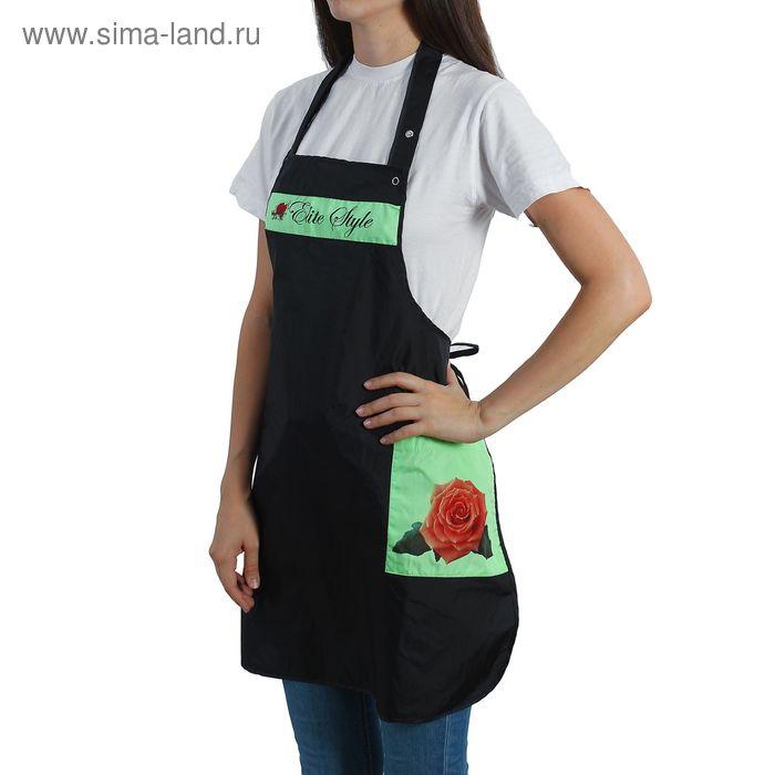 """Фартук парикмахерский """"Роза"""", цвет чёрно-зеленый"""