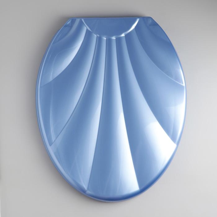 """Сиденье с крышкой для унитаза """"Ракушка"""", цвет голубой перламутр"""