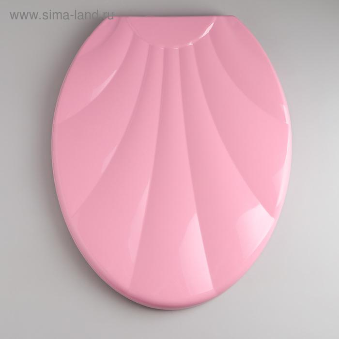 """Сиденье с крышкой для унитаза """"Ракушка"""", цвет розовый"""