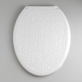 Сиденье для унитаза с крышкой Росспласт «Декор. Ажур», цвет белый