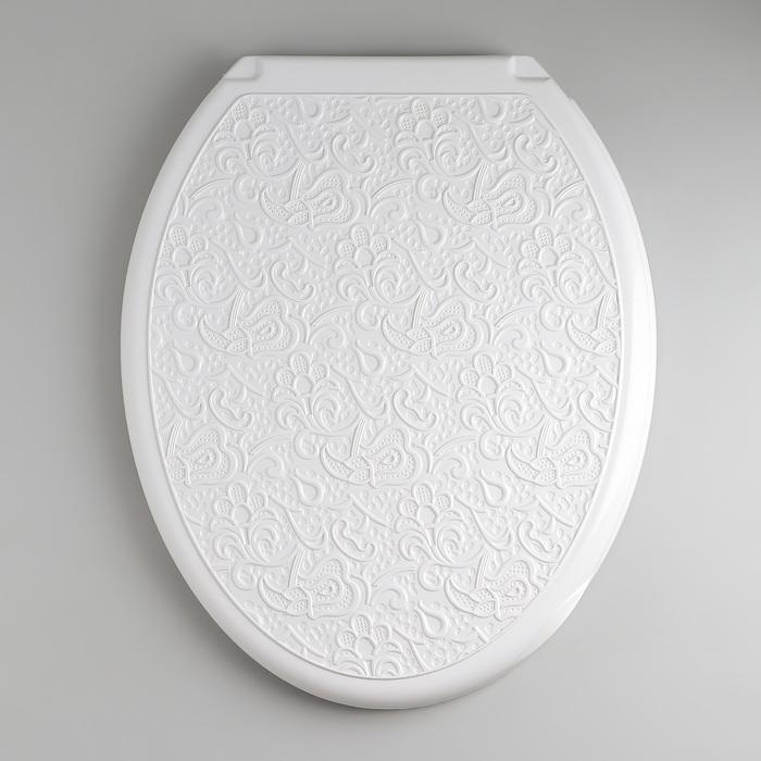 """Сиденье с крышкой для унитаза """"ДЕКОР. Ажур"""", цвет белый"""