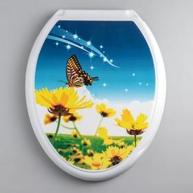 """Сиденье с крышкой для унитаза """"ДЕКОР. Бабочка на цветке"""", цвет белый"""