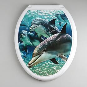 """Сиденье с крышкой для унитаза """"ДЕКОР. Дельфин"""", цвет белый"""