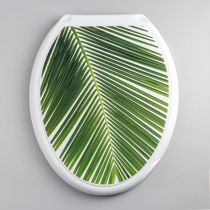 """Сиденье с крышкой для унитаза """"ДЕКОР. Пальма"""", цвет белый"""