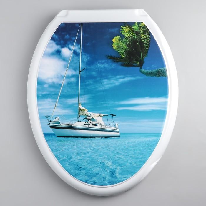 """Сиденье с крышкой для унитаза """"ДЕКОР. Яхта"""", цвет белый"""
