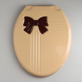 """Сиденье с крышкой для унитаза """"Комфорт Люкс"""", цвет бежевый/коричневый бантик"""