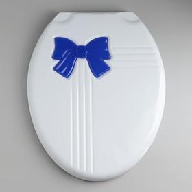 """Сиденье с крышкой для унитаза """"Комфорт Люкс"""", цвет белый/голубой бантик"""