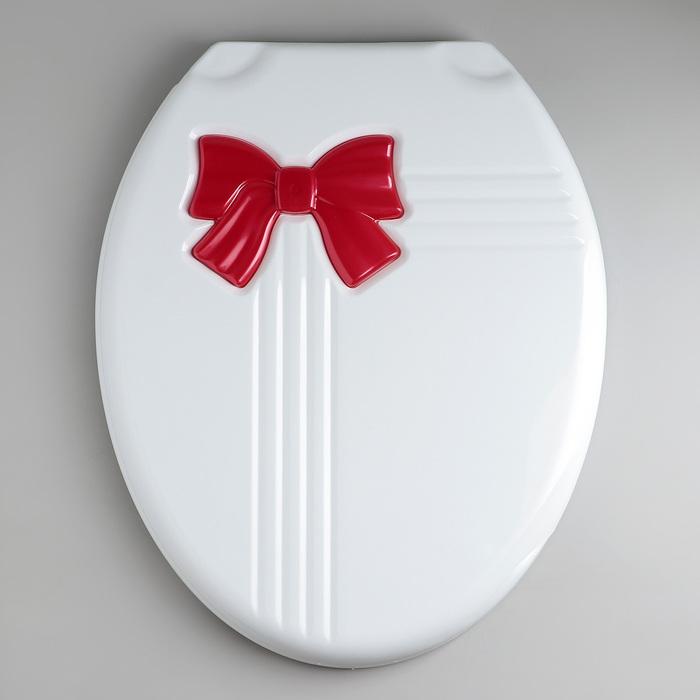 Сиденье для унитаза с крышкой «Комфорт Люкс», цвет бежевый/красный бантик - фото 4655790